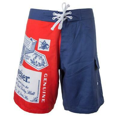 BUDWEISER Board Shorts King Of Beers Classic Beer Label Mens Swim Trunks S-2XL