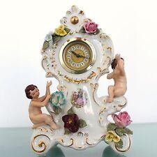 Dresden Porcelain Mantel TOP Clock Germany Mid Century Vintage Triple Legs China