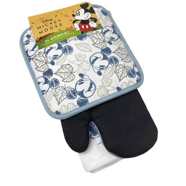 Disney Mickey Mouse Sketchbook Oven Mitt Pot Holder /& Dish Towel 3 pc Kitchen Set Black//White