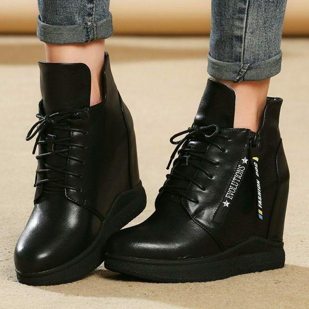 echa un vistazo a los más baratos Wohombres Genuine Leather Hi Top zapatilla zapatilla zapatilla de deporte Trainers Platform Wedge botas High Heels  Ahorre hasta un 70% de descuento.