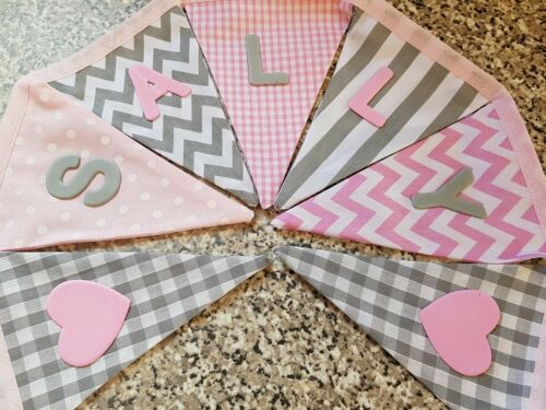 GREY /& PINK MIX-ANY NAME-£1 PER FLAG FREE P/&P PERSONALISED BUNTING