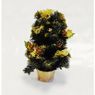 Table top Centerpiece Mini Christmas Tree with Glitter, Holly & Ribbons in a Pot