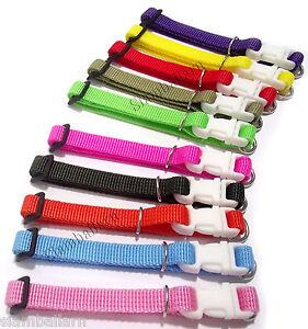 Lot Of 10 Different Colors Nylon ID Newborn Whelping Puppy Toy Dog Collar Adjust