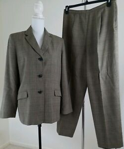 Vntg-DRESSBARN-Women-039-s-Size-14-Gray-Plated-Fully-Lined-Pants-Suit-Office-Wear