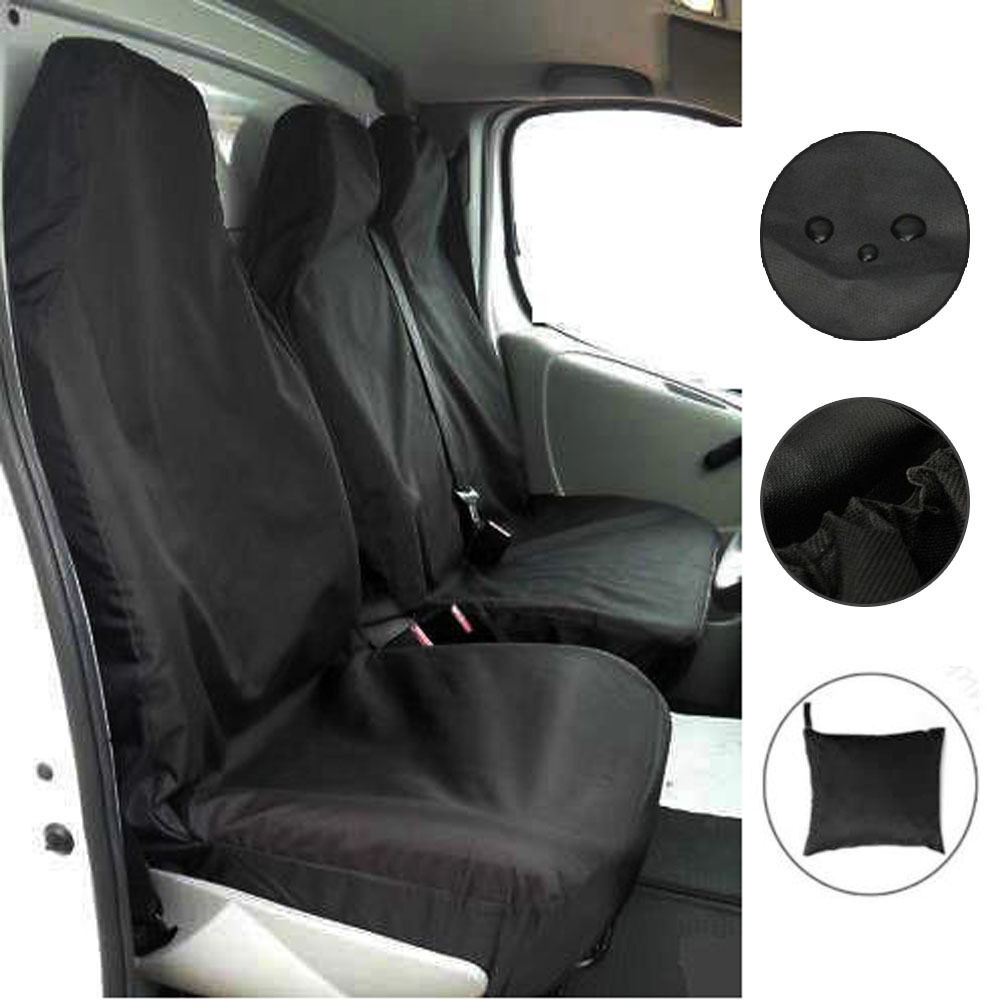 FORD TRANSIT 06-13 MK7 PANEL VAN HEAVY DUTY WATERPROOF VAN SEAT COVERS BLACK 2+1