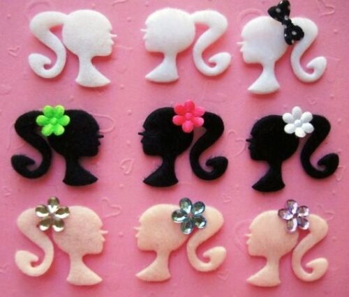 60 Hair Salon Girl Pony Tail Felt Applique//Trim//Craft//Padded Lady Silhouette H57