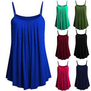 Plus-Size-Womens-Ladies-Cami-Vest-Boho-Swing-Solid-Camisole-Sleeveless-Tank-Tops