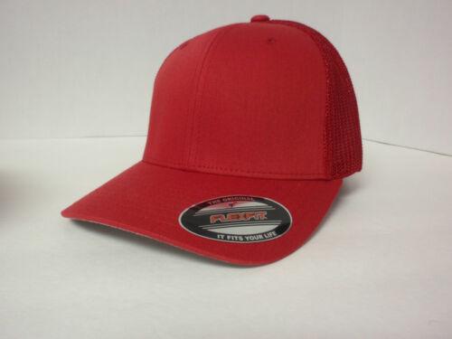 FLEXFIT TRUCKER MESH CAP PLAIN BLANK BASEBALL HAT FLEX FIT 6511 CURVED FITTED