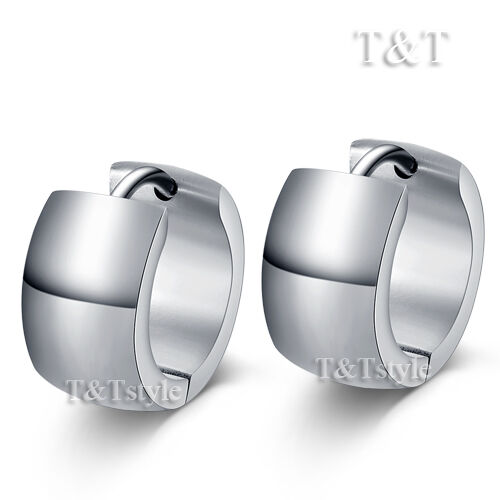 TRENDY T/&T Silver//Gold Stainless Steel Hoop Earrings
