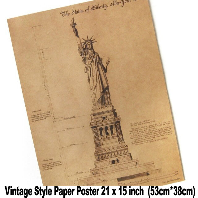 XL Vintage Wall The Statue of Liberty Blueprints 21x15 inch Paper Poster A2