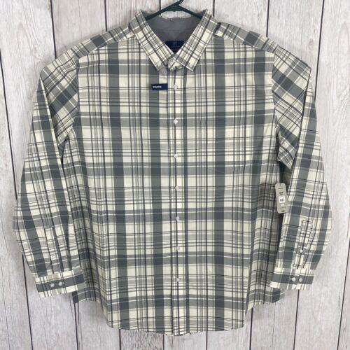 George Mens Size 2XL Button Down Long Sleeve Stretch Poplin Grey Plaid Shirt NWT