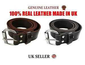Mens Womens Belt Genuine Leather HIGH Quality Jean Trouser Waist UK Made Casual