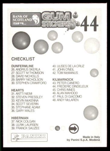Kilmarnock Panini SPL Goma Pegatinas 2001-Frederic Dindeleux Nº 44