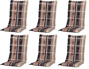 6 x gartenm bel hochlehner sessel auflagen polster kissen 8 cm gartenstuhl b252 ebay. Black Bedroom Furniture Sets. Home Design Ideas