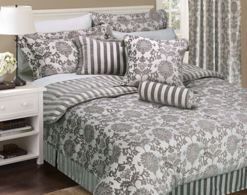 Brand New! Luxury Double King Size Bedspread Set  Cushions Floral Grey Silver