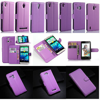 Purple Luxury Flip PU Leather Card Slot Case Magnetic Stand Cover Fashion Wallet