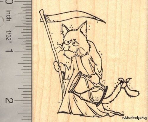 New Year/'s Cat Father Time Rubber Stamp  J15306