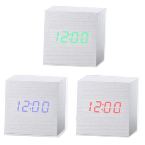 Electronic Digital WOODEN LED Alarm Clock Sounds Control Thermometer /& Calendar