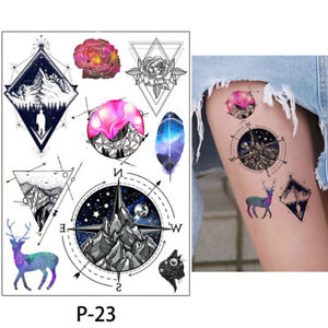 Outer Space Temporary Tattoo Kids And Adults Fake Flower Rose