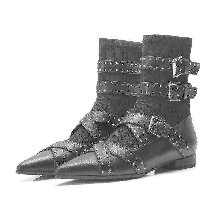 New Women Gothic Pointy Toe Buckle Strap Punk Rivet Flat shoes Ankle Boots