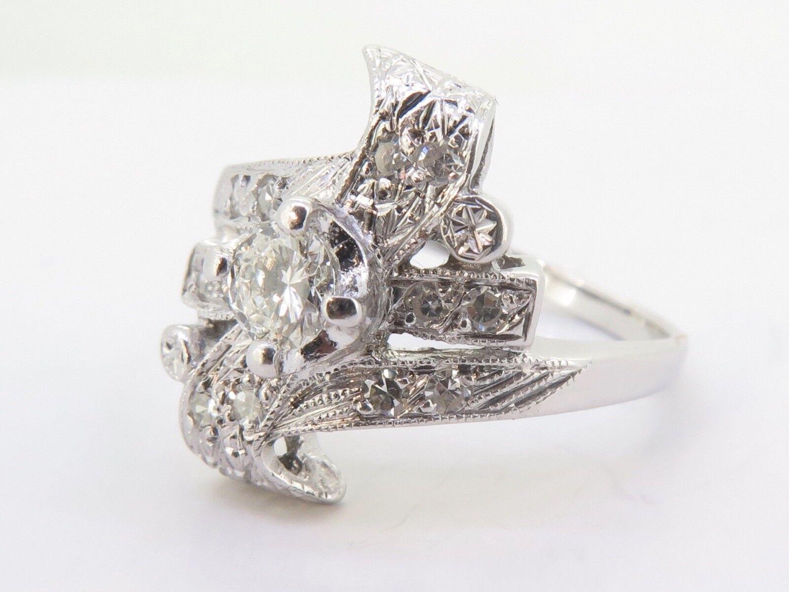 .Vintage 0.51ct Diamond Set Ladies 14K White gold Ring Size O1 2 Val  3980