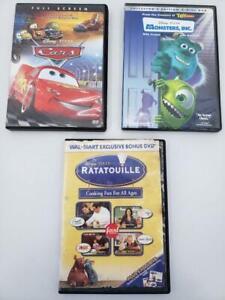 Disney Pixar Three Disc DVD Bundle - Ratatouille Monsters Inc Cars