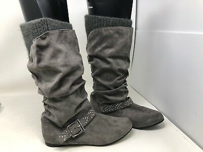 Canyon River Blues Toddler Girls Gray Suede Look Fashion Boots with Hearts