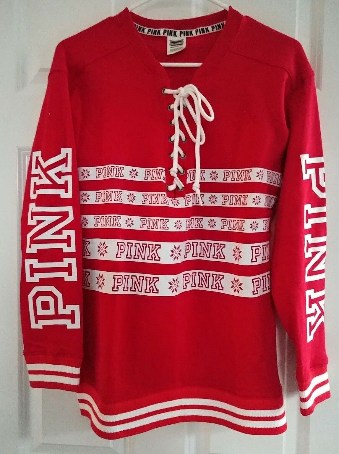 New VICTORIA'S SECRET PINK lace up fair isle sweatshirt shirt top xs s