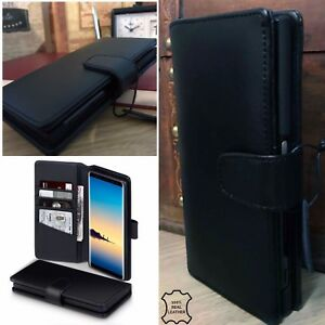 GALAXY-A8-2018-Real-Leather-Black-Folio-Book-Case-Wallet-Retail-Boxes