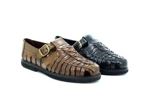 Gordini Eric Men's Interlaced Leather Summer Sandals Shoes Brown Leather