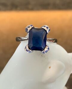 4ct-Blue-Sapphire-925-Solid-Sterling-Silver-Emerald-Cut-Solitaire-Ring-Size-8