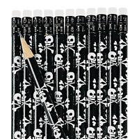12 Skull & Cross Bone Pirate Pencils Child Birthday Party Favors Dozen Black Fun