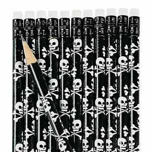 12-SKULL-amp-CROSS-BONE-Pirate-Pencils-Child-Birthday-Party-Favors-Dozen-Black-Fun