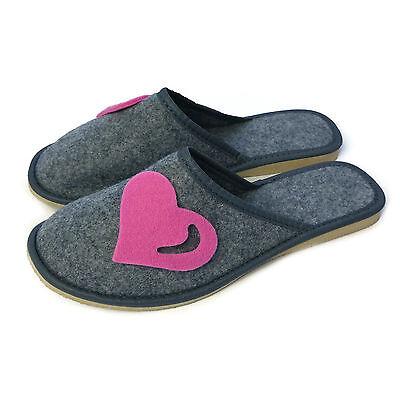 Nuevo Para mujeres Para Damas Niñas Rosa Corazón Gris Slip On Mula Zapatillas Tamaño 3 4 5 6 7 8