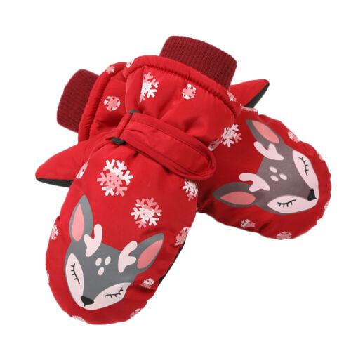 Winter Children Waterproof Deer Printed Gloves Kids Skiing Warm Thermal Gloves
