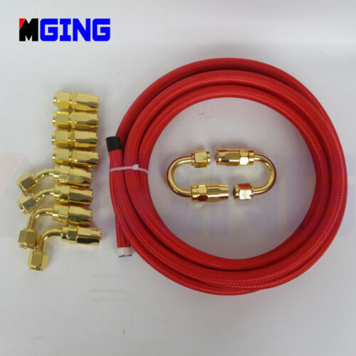 6 AN6-6AN  Steel Nylon Braided Oil Fuel Line+Fitting Hose End Adapter kit 3M