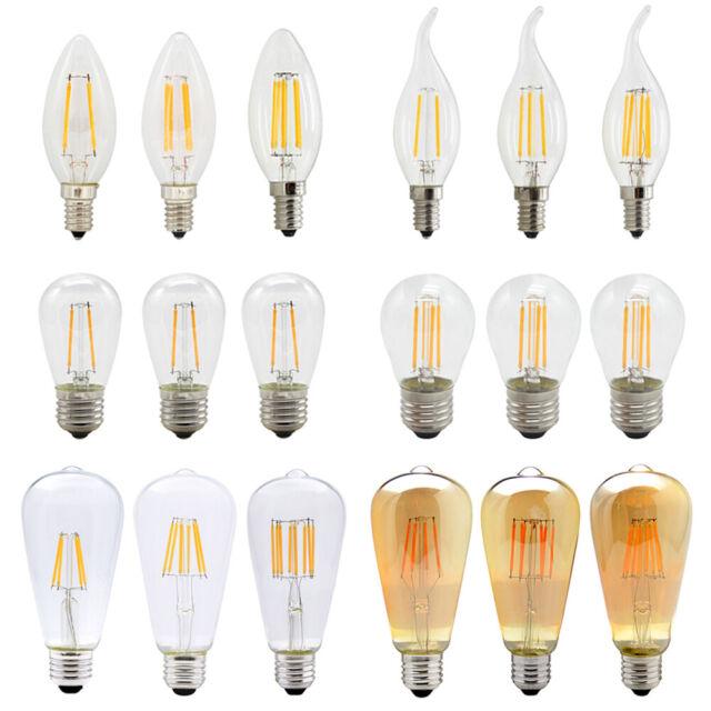 10X 1X E14 E27 Led Filament Licht Birne 2W 4W 6W 8W Warmweiß 2700K DC12VAC220V