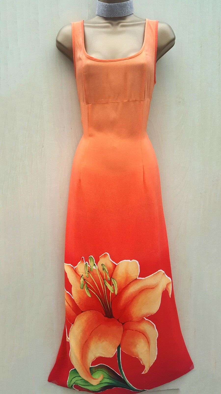 8cf5a9a45a Rare Vintage Karen Millen Burned orange Tulip Flower Print Long Maxi Dress  12 UK