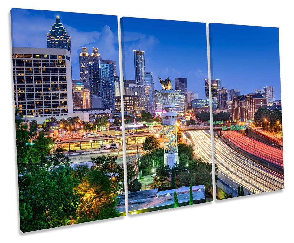 Atlanta Atlanta Atlanta City Skyline Georgia TREBLE CANVAS WALL ART Box Framed Print aab042