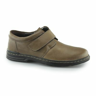 Hush Puppies JEREMY HANSTON Mens Leather Touch Fasten Foam Footbed Shoes Brown