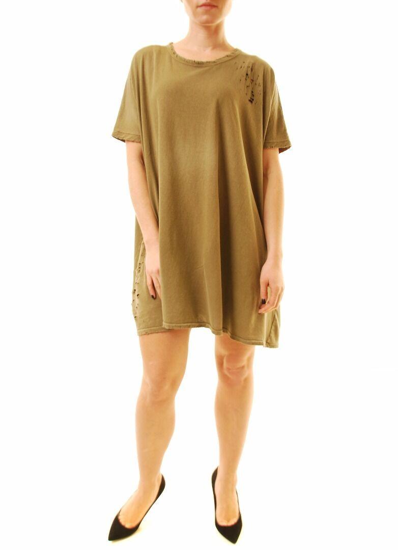 Sundry Women's Short Sleeve Jersey Tunic Dress Khaki Size US 1 RRP  BCF612