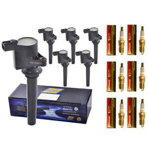 Set-of-6-Motorcraft-SP413-Spark-Plugs-6-Herko-B056-Ignition-Coils