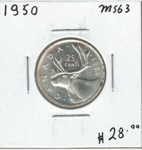 Canada-1950-Silver-25-Cents-MS63