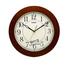 Casio Iq-126-5 Wall Clock with 10 Inches Thinline Quartz Marron Wood Frame and