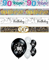Image Is Loading 90th BIRTHDAY BANNERS PARTY DECORATIONS PINK BLUE BLACK