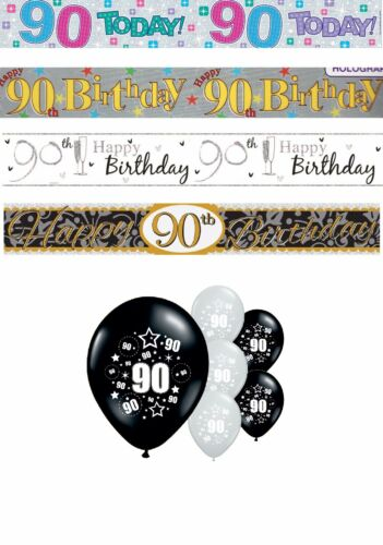 90th BIRTHDAY BANNERS PARTY DECORATIONS PINK BLUE BLACK MULTI