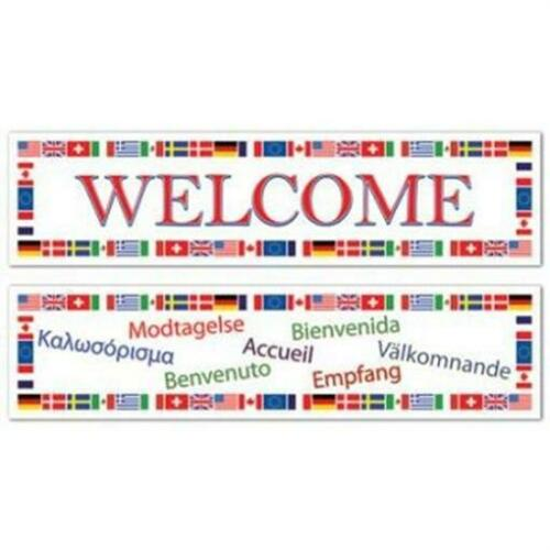 International Welcome All-Weather Banner Set 2 Pack Olympics Travel Decoration
