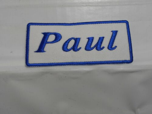 IRON ON NAME PATCH BLUE ON WHITE PAUL  NEW EMBROIDERED  SEW