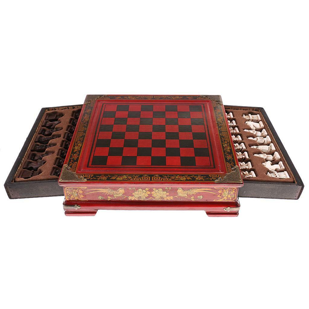 Professional International Chess Game Wooden Chess Board Educational Antique