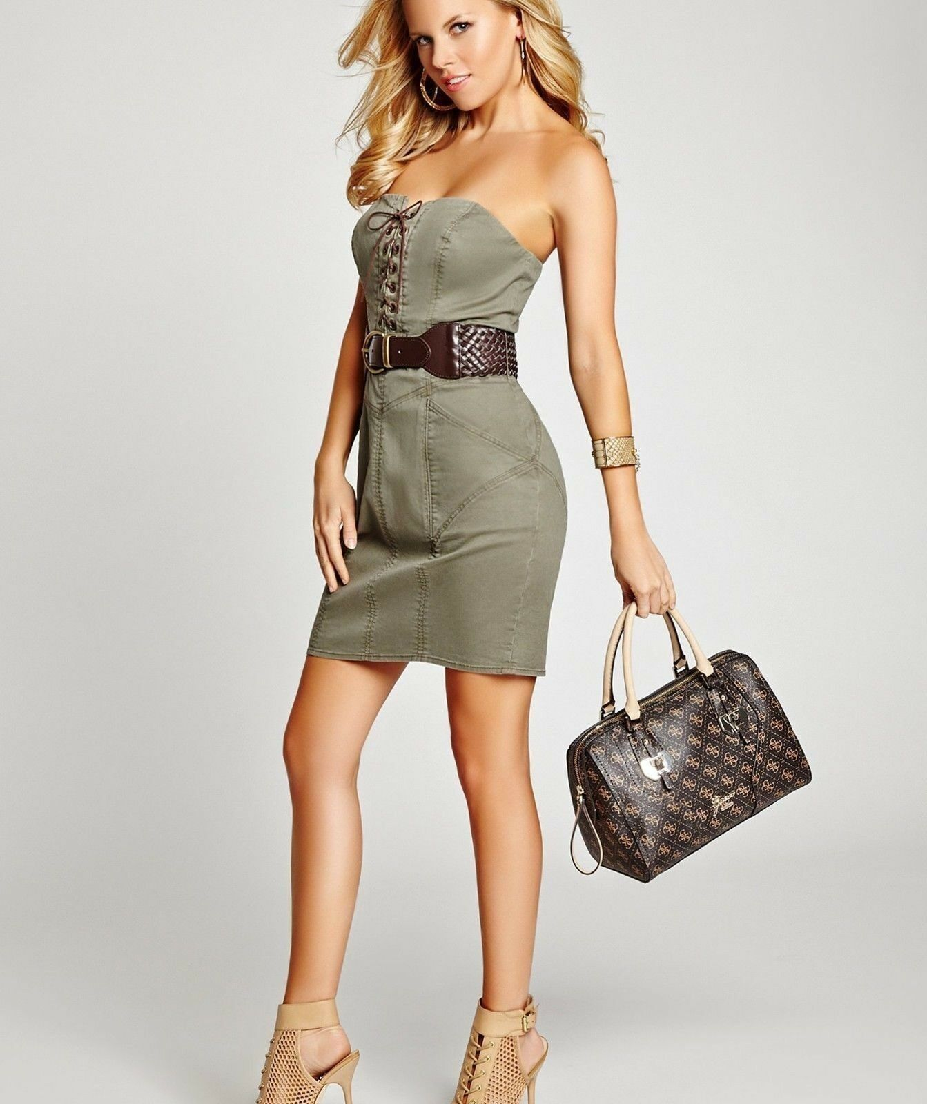 GUESS Women's sz 0 Strapless Belted Military-inspired Twill Dress